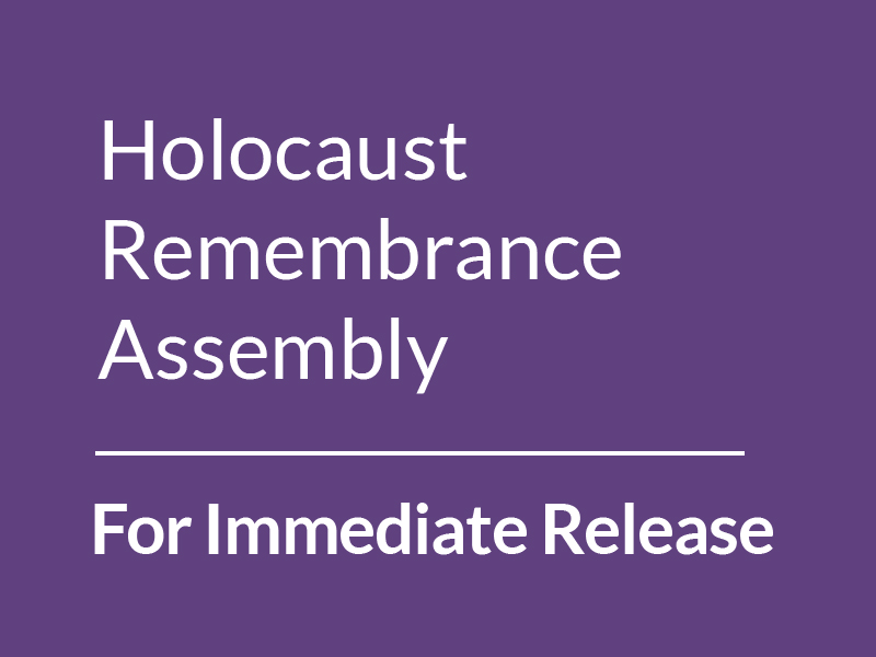 For Immediate Release: Holocaust Remembrance Assembly