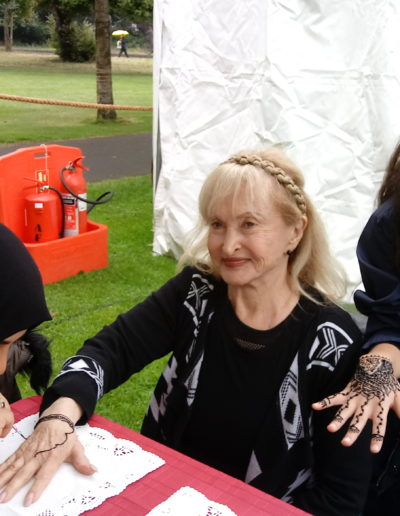 Getting a henna tattoo at the Dublin City Interfaith Forum, MEASC Festival, September 2019