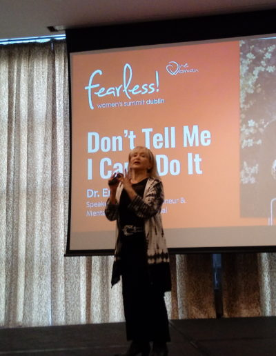 Dr. Erica Miller addresses the One Woman International's Fearless! Women's Summit crowd in Dublin, Sept. 14, 2019