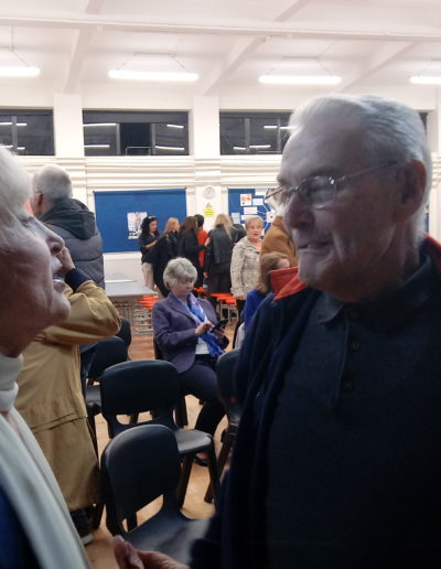 Dr. Miller meets a fellow Holocaust survivor after a speaking event for the Irish-Jewish Community at Stratford College, Dublin, Ireland Sept. 15, 2019