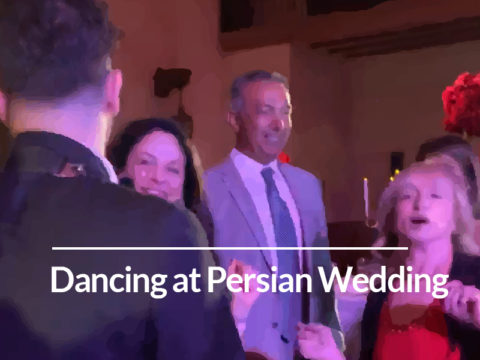 Dr. Miller dancing at her friend's Persian wedding