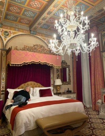 Reclining in this majestic bed in hotel St Regis in Florence
