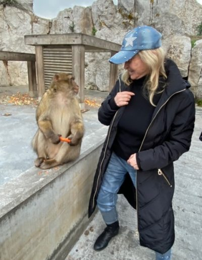 Making a new monkey friend in Gibraltar, December 2019